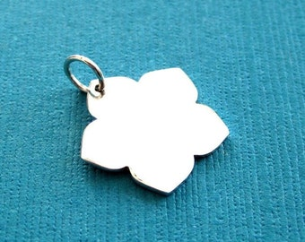 Sterling Silver Flower Stamping Blank  Charm