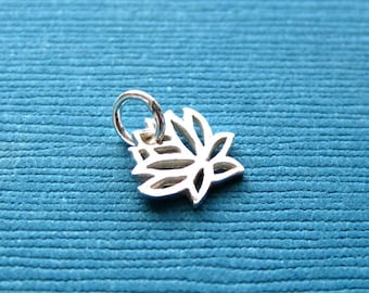 Sterling Silver Openwork Small Lotus Flower Charm