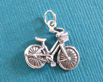 Sterling Silver Bicycle  Pendant or Charm