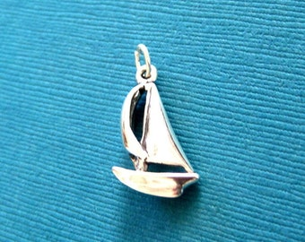 Sterling Silver  Sail Boat  Pendant Charm