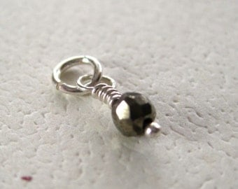 Faceted Pyrite Gemstone Dangle Charm