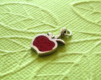 Sterling Silver Apple  Pendant Charm With Red Inlay