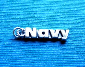 Sterling Silver Military NAVY Tag Charm