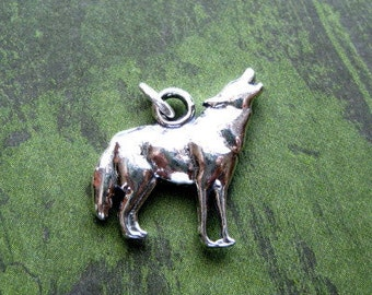 Sterling Silver  Howling Wolf Pendant or Charm