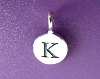 Sterling Silver Alphabet Letter K Initial Charm