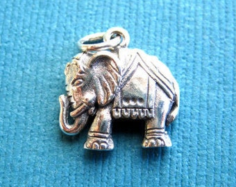 Sterling Silver Indian Elephant Pendant or Charm
