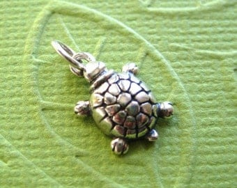 Sterling Silver Turtle Pendant or Charm