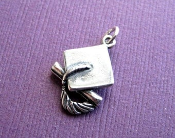 Sterling Silver  3D Graduation Hat and Diploma Pendant Charm