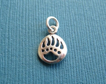Small Sterling Silver Bear Paw Print Charm