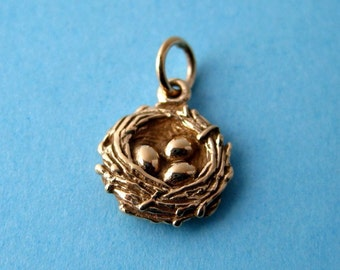 Bronze Birdsnest and Eggs Pendant or Charm CLEARANCE