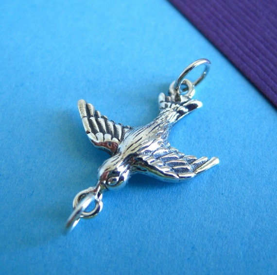 Sterling Silver Swallow Flying Bird Connector Charm