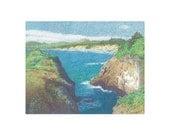 Limited Edition - Yaquina Head, Oregon in Fine Art  Pointillism Print 11x17