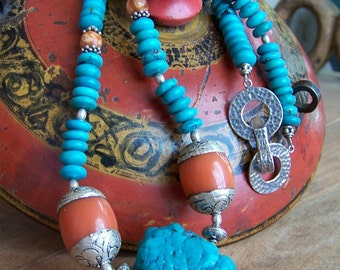 Tibetan Turquoise Coral Necklace, Women's Tribal Style Necklace, Southwest, Western, Ranch Style Necklace,