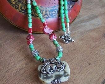 Tibetan Necklace, Women's Handcrafted Necklace, Pendant, Repousse, Women's Ethnic Necklace