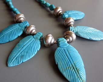 Turquoise Feather and Silver necklace