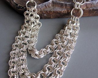 Luxurious Multi Strand Chainmaille Necklace