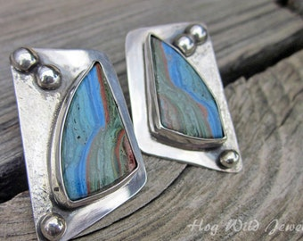 Artisan Crafted Calsilica and Sterling Silver Post Earrings