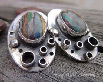 Handcrafted Artisan Made Sterling Silver and Calsilica Post Earrings