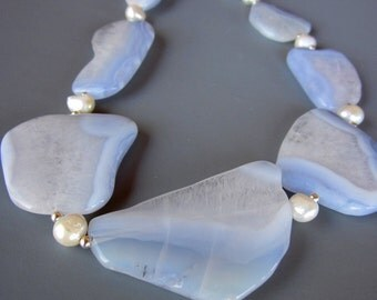 Blue Lacy Agate Slab and Pearl Necklace