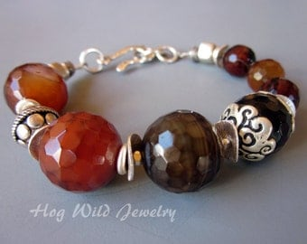 Brown Faceted Agate and Sterling Silver Bracelet