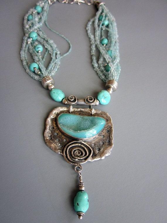 Sea Sparkle Aqua Druzy Sterling Silver pendant necklace