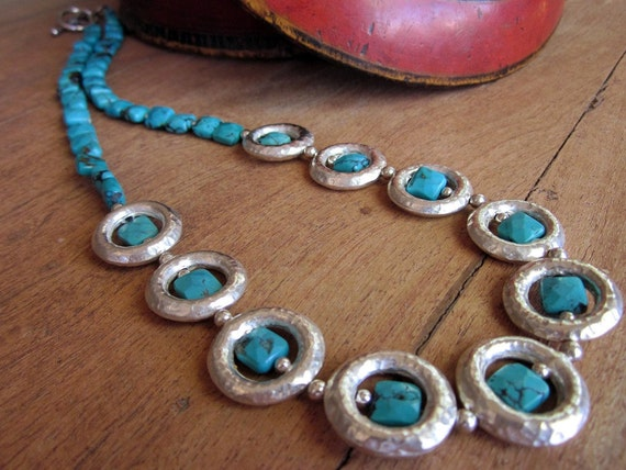 Turquoise Sterling Silver Necklace, Southwest Women's Necklace, Artisan Women's Jewelry, Handcrafted Gemstone Necklace