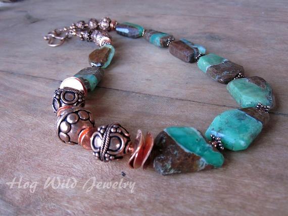 Asymmetrical Copper Chrysoprase Necklace