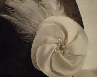 Ivory silk satin hair flower