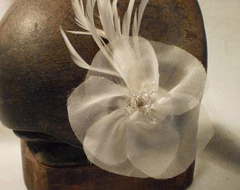 Ivory silk organza hairflower