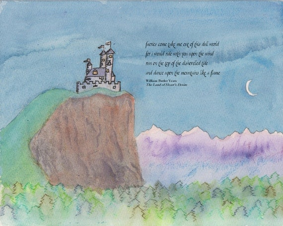 Faerie Castle Of The Crescent Moon Print With Quote
