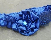 Cobalt Royal Blue Satin Garter with Polka Dotted Guinea Feathers