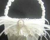 White Satin Flower Girl Basket with Venice Lace, Ostrich Feathers, Pearls and Crystals
