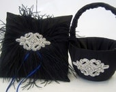 Black Satin Ring Bearer Pillow with Ostrich Feathers and Flower Girl Basket Set with Crystal Center
