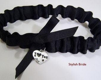 Black Wedding Garter with I Love You Charm Available in Hot Pink and White