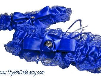 Royal Cobalt Blue Lace and Satin Wedding Garter Keepsake and Toss Set Something Blue