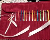 Crochet Hook Organizer - Burgundy with Ribbon