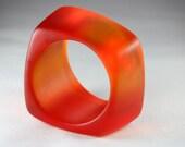 Resin Bracelet Bangle Chunky Square Shaped in Bright Orange
