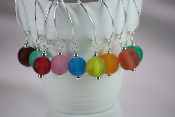 Delicate Colorful Resin and Sterling Silver Earrings