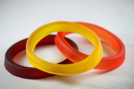 Resin Stacking Bangles in Red, Yellow and Orange