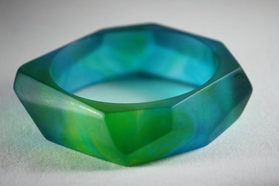 Resin Bangle Chunky Faceted in Blue Greens