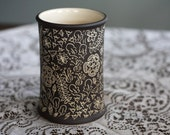 Ceramic Floral Vase Dark Brown Cream Utensil Holder Pottery Carved