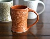 SALE Pottery Coffee Mug - Scalloped Burnt Orange Ceramic Mug Hand Carved