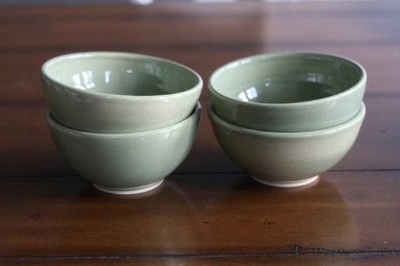 SALE - Green Speckle Cereal Bowls - set of 4