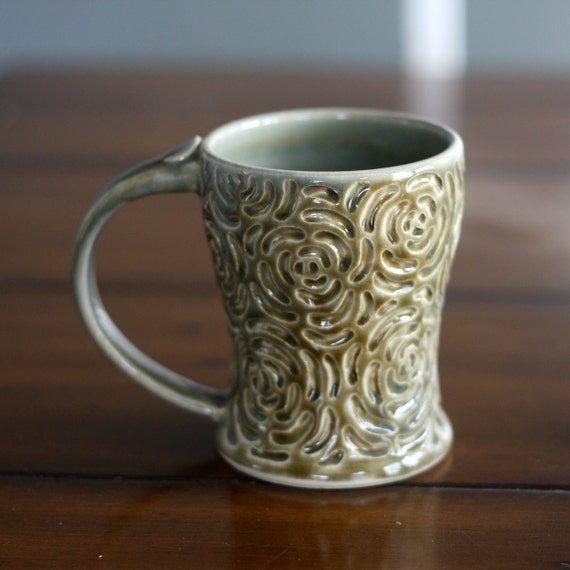 Warm Pottery Coffee Mug in Olive Green Rose Carved