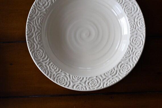 Pottery Rose Platter Cream Large Serving Dish White Ceramic Carved