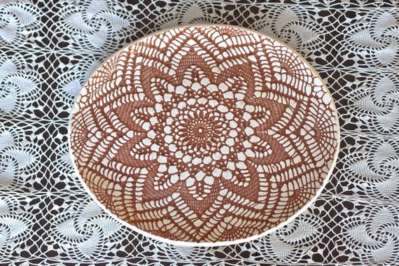 RESERVED for Kelsy - Burnt Orange Lace Doily and Burlap Serving Tray