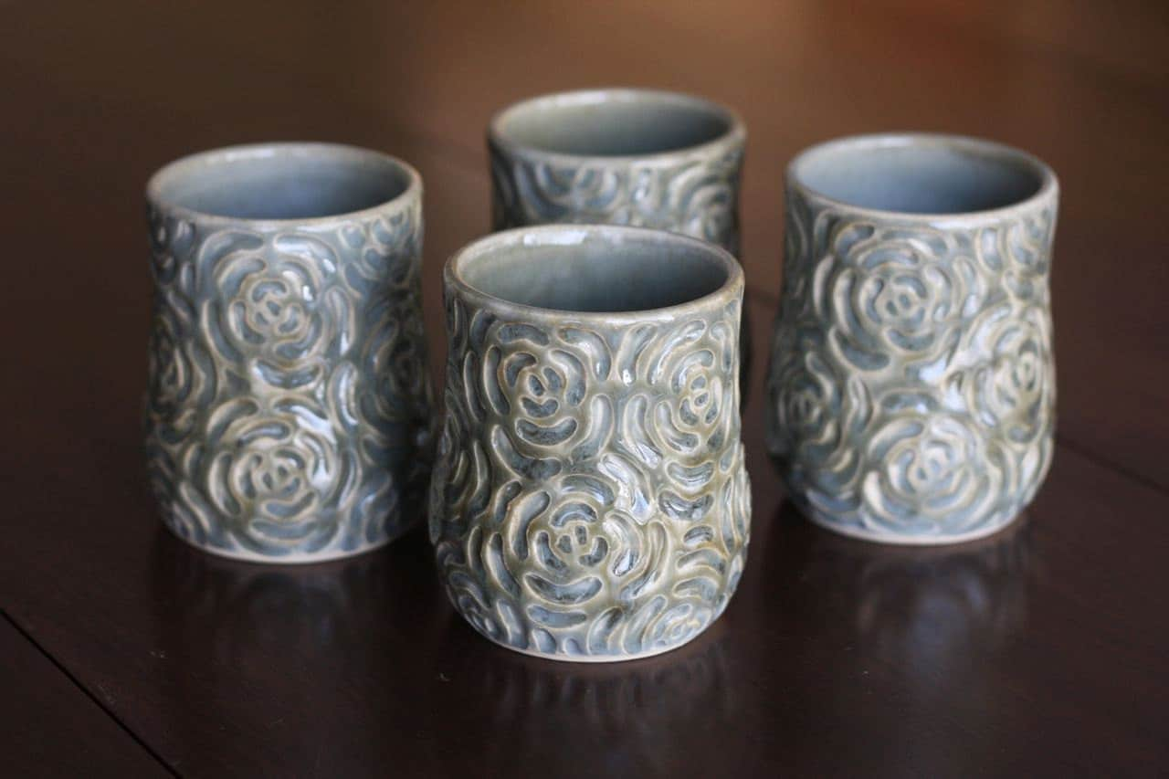 Sale pottery whiskey cups hand carved rose by fringeandfettle