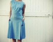 Vintage 60s Sleeveless Wiggle Dress in Baby Blue sz. S/M