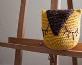 Ready to Ship - SALE - Yellow Sleepy Owl Crochet