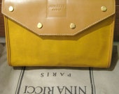 NOS New Vintage NINA RICCI Mustard Yellow Beige Leather Handbag Clutch -1980s, Spring color - Never Used -Authenticity Card/Orginal Dust Bag